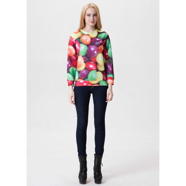 Women Sweatshirt Candy Sweets 3D Print Girl Free Size Stretchy Casual Hoodies Lady Long Sleeves Tops Digital Graphic Sweatshirts (RLSws0013)