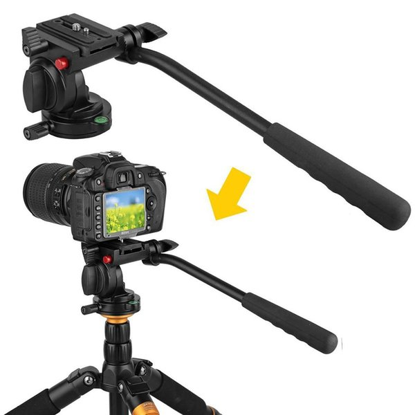 KH-6750 Aluminum Photography Video Tripod Head Fluid Drag Hydraulic Head With Handgrip For Canon Nikon DSLR Camera Camcorder r25