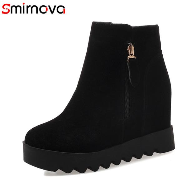 Smirnova drop shipping 2018 hot fashion femmes bottes flock autour des orteils augmentation de la cheville des bottes
