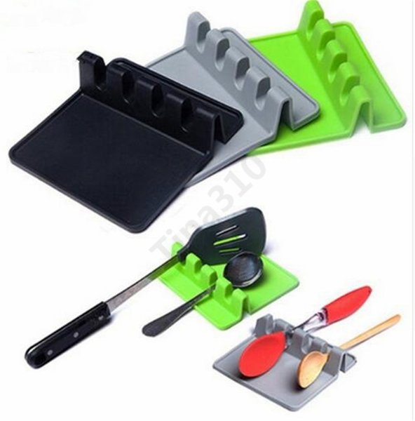 Silicone Tableware Rack Mat Pads Spoon Mat Spatula Table Placemat Waterproof Non-slip High quality 3 Colors 200pcs T1I964