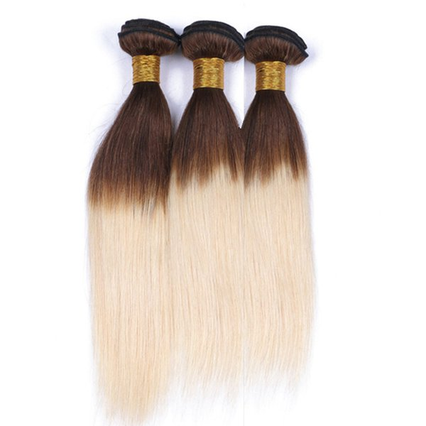 Two Tone #4/613 Medium Brown to Blonde Ombre Virgin Indian Hair 3Bundles Silky Straight Brown and Blonde Ombre Human Hair Weave Extensions