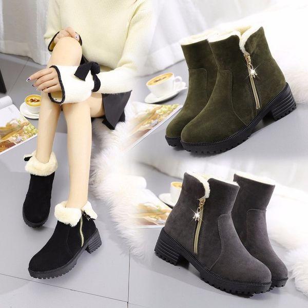 Botas de inverno Mulheres Botas Sólidas Sapatos Das Senhoras Martin Botas de Camurça Ankle Boots de Couro Quente de Pelúcia Calçado L-46