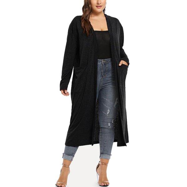 Femmes Plus Taille Femmes Long Longueur Manche Ouvert Cascade Drapé Cardigan
