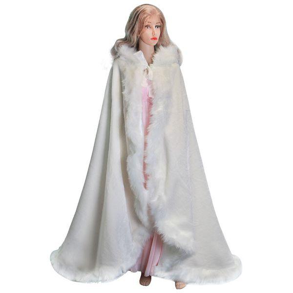 Elegant cheap 2018 hot bridal ivory CAPE white winter fur coat women wedding bolero bridal layers coat wedding