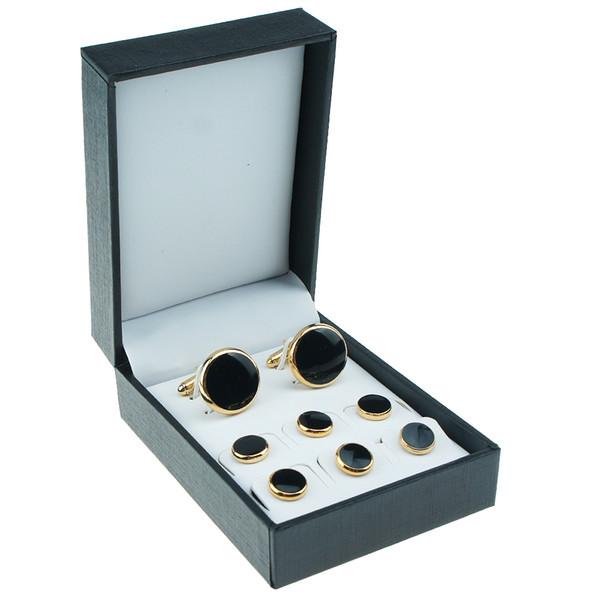 square Black cufflinks set Storage jewelry display box gift jewelry box for Cufflinks and studs CTB801