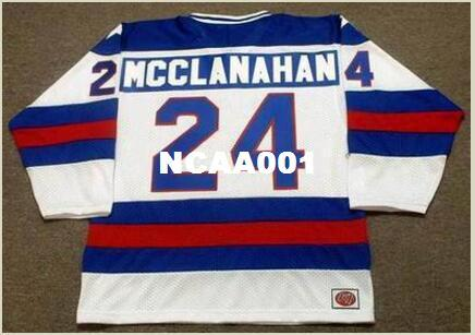 Mens #24 ROB MCCLANAHAN 1980 USA Olympic CCM Vintage Home Hockey Jersey or custom any name or number retro Jersey