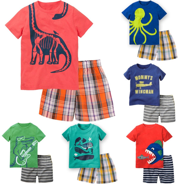 Newest Baby Boy Clothes Toddler Tee Shirts Grid Pant Clothing Suit Children Outfit Cotton Kids Tops T-Shirt Trouser Panties 1-5Y