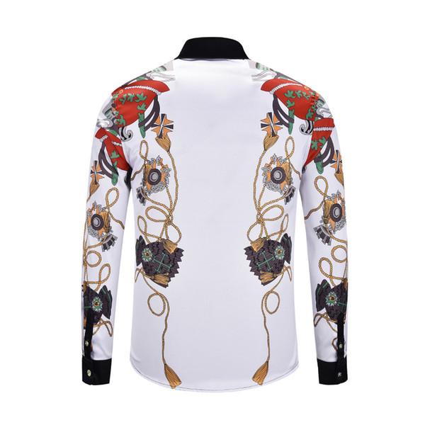 The Nice hand-panled set Famous Brand design clothes men galaxy golden dragon flower print long sleeve 3d shirt Baroque printing Medusa men