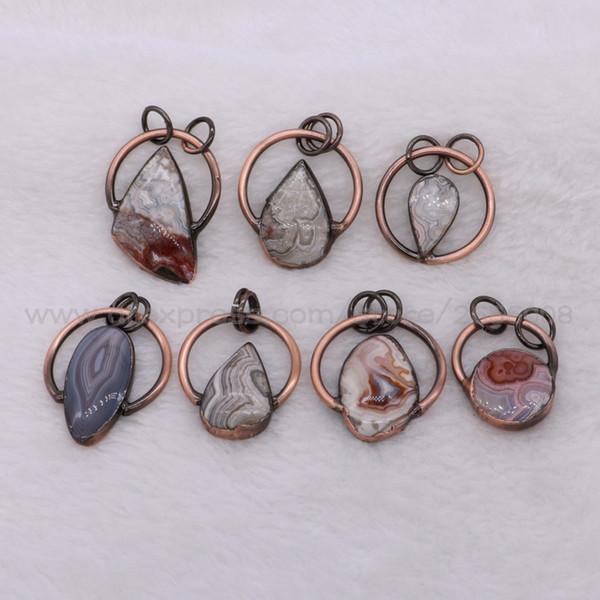 8 Pcs Natural Retro Onyx stone pendant druzy pendant with Red Copper circle Mix shape stone jewelry 2323