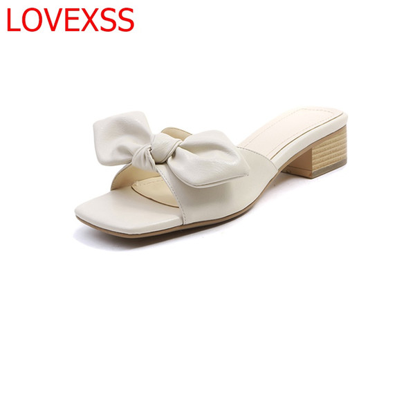 LOVEXSS Casual flat shoes leather fashion shoes thick with wild sweet bow sandals slippers 2018 summer new style