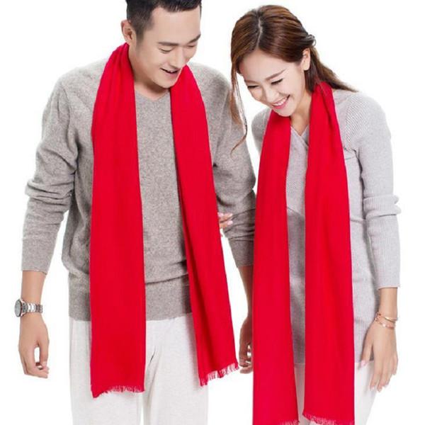 sciarpa rossa cinese degli uomini sciarpe lunghe accessori di vestiti scialle plaid solido moda inverno autunno caldo cumtom logo