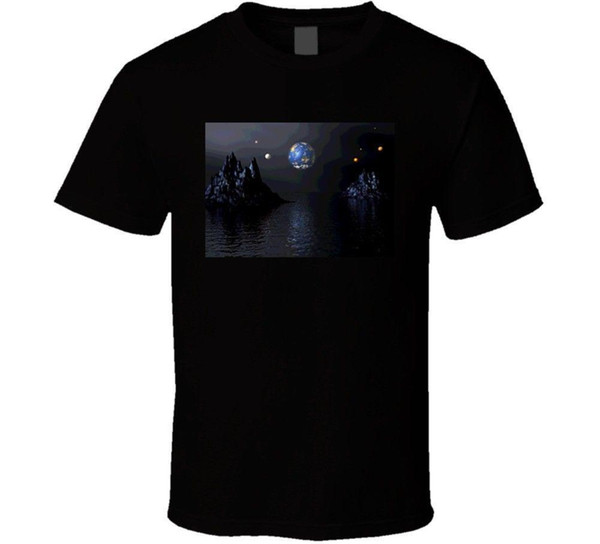 Cool Art Pictures Moon Water Graphic Design T Shirt Mens 2018 fashion Brand T Shirt O-Neck 100%cotton T-Shirt