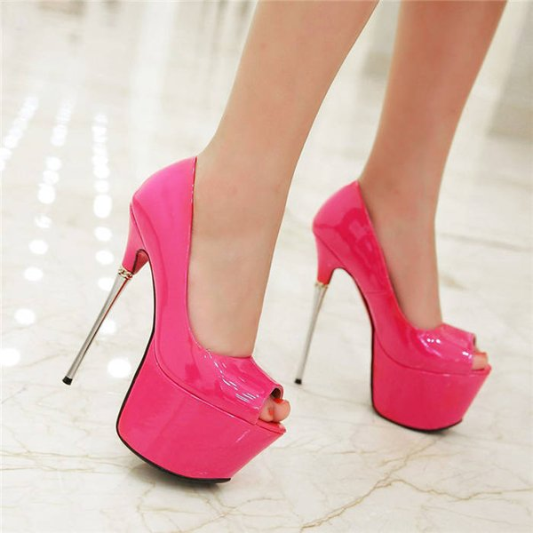 c67804ccadb Summer Peep Toe Patent Leather Woman Dress Shoes 16cm High Thin Steel Heel  Platform Pumps White Pink Gold Wedding Party Club Lady Stiletto Mens Shoes  ...