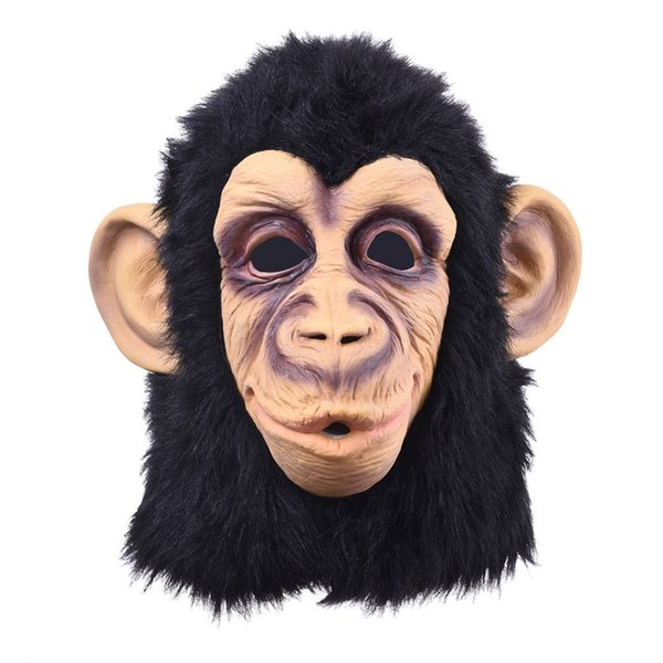 . Funny Monkey Head Latex Mask Full Face Adult Mask Breathable Halloween Masquerade Fancy Dress Party Cosplay Looks Real