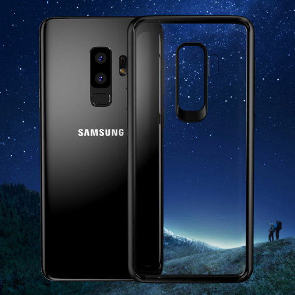 Greaseproof HD Transparent Soft Silicone TPU Case Back Cover Shock Absorption Bumper Anti-Fingerprints Anti-Scratch for Galaxy S9+ iPhone X