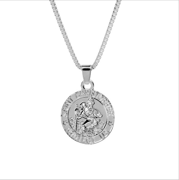 Saint Christopher Surfing Necklace Coin Traveller Necklace Silver Gold Plated Chain For Women And Men Modern Jewelry As Gifts