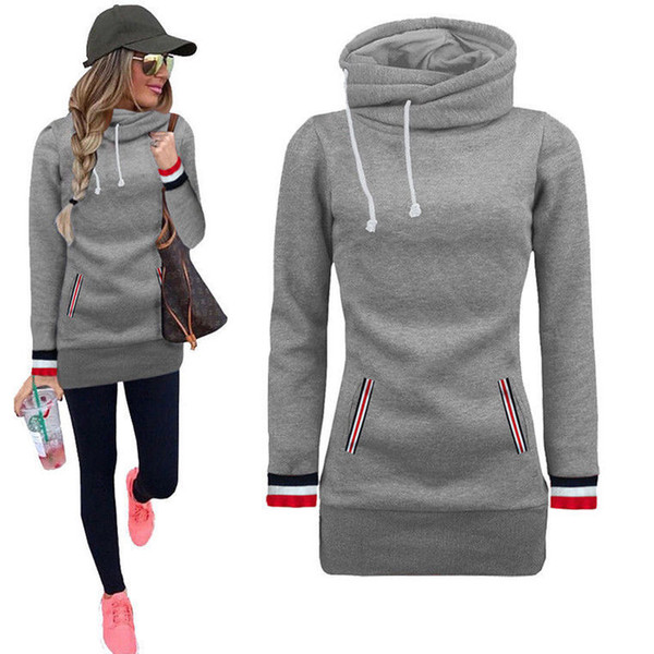 Women Spring Fleece Casual Sweatshirts Autumn Tops Long Sleeved Stand Collar Pullovers Slim Fit Hoodie
