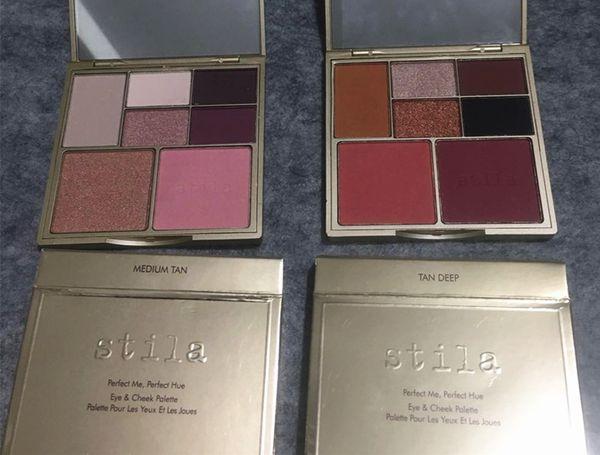 Nova maquiagem Blush sombra Stila Eye Cheek Paleta 7 cores 2 estilo Tan Médio / Tan Profundo de Alta qualidade DHL grátis