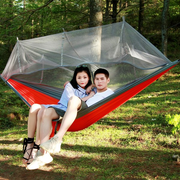 12 Colors Hammock Camping Mosquito Net Portable Outdoor Swings Parachute Hammock Sleeping Bag Double NylonTravel Hanging Beds 260*140cm