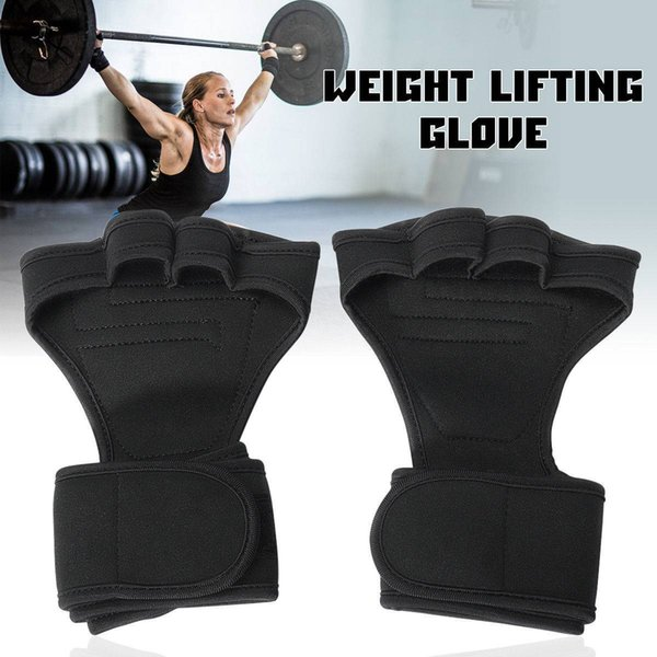 1 Pair Black Fitness Gloves Weight Lifting Grip Gym Workout Power Training Wrist Wrap Strap size M L