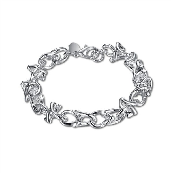 Braccialetto placcato argento sterling del braccialetto adorabile del ramoscello di vendita calda libera di trasporto; Regalo di matrimonio ! bracciale in argento 925 da uomo e donna SPB042