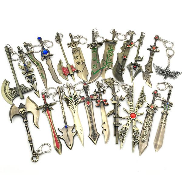 LOL Game Weapon Metal Keychains Key Chain League of Legends Sword Gun Lol Weapons Pendant Keychain Keyrings Zinc Alloy Keyring 20PCS