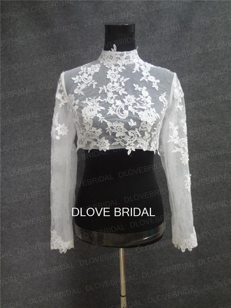 Real Image High Neck Long Sleeve Bridal Jacket Lace Appliqued Tulle Wedding Party Dress Sheer Wraps Bolero with Covered Buttons Custom Make
