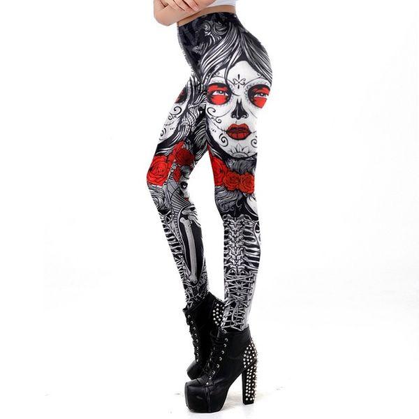 New Leggins Halloween Sugar Skull Leggings For Women Girl Rose Print Fantastic Workout Party Ankle Pant