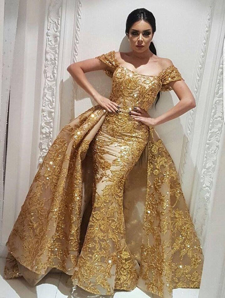 Gold Appliques Lace Overskirt Evening Dresses With Cap Sleeves Beaded Sequins Arabic Formal Party Gowns Sweep Train Sheath Prom Dresses Long