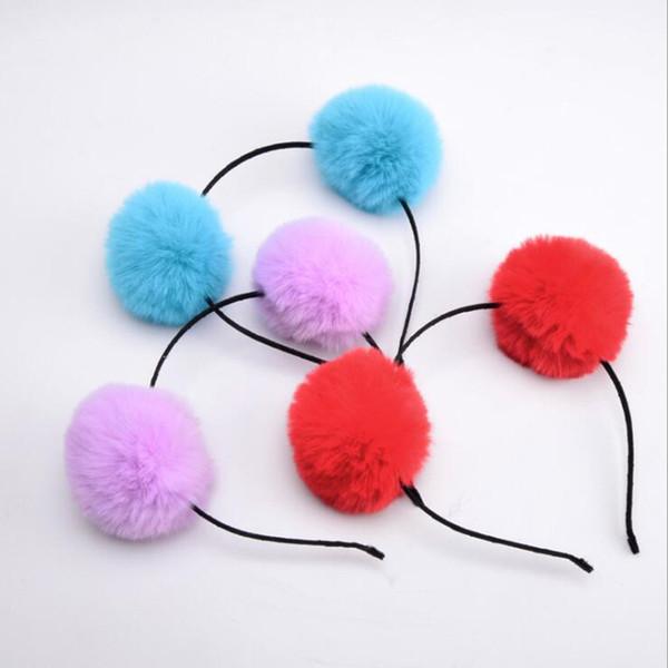 Women Girls 6cm Fluffy Fur Pompon Ball Headband Children Adults Headwear Wedding Birthday Party Hair Accessories