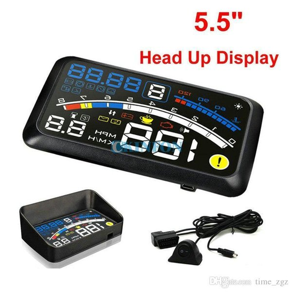 "DHL 5PCS ASH-4E 5.5"" Universal OBD2 Car GPS HUD Head Up Display Overspeed Warning System"