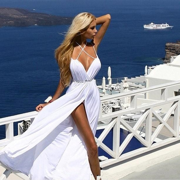 Simple White Prom Dresses 2018 Sexy High Slit Spaghetti Chiffon Evening Gowns Deep V Neck Cheap Party Dress Long Beach Bridal Gowns Sash