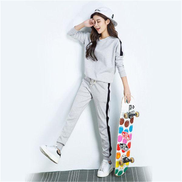 2018 primavera e no verão moda sportswear das mulheres de manga comprida camisola + calça sportswear duas peças de treino feminino