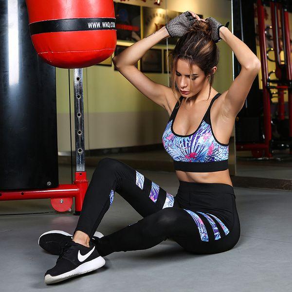 Didiopt Hot Sell Bra+Leggings Women Bra And Leggings Hot Sell Printed Stripes Women Set GYM And Yoga Clothing