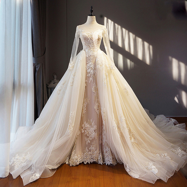 Light Champagne Ivory Real Image Wedding Dress Long Removable Train Hem Appliques Long Sleeves Saudi Arabia Formal Brides Gowns