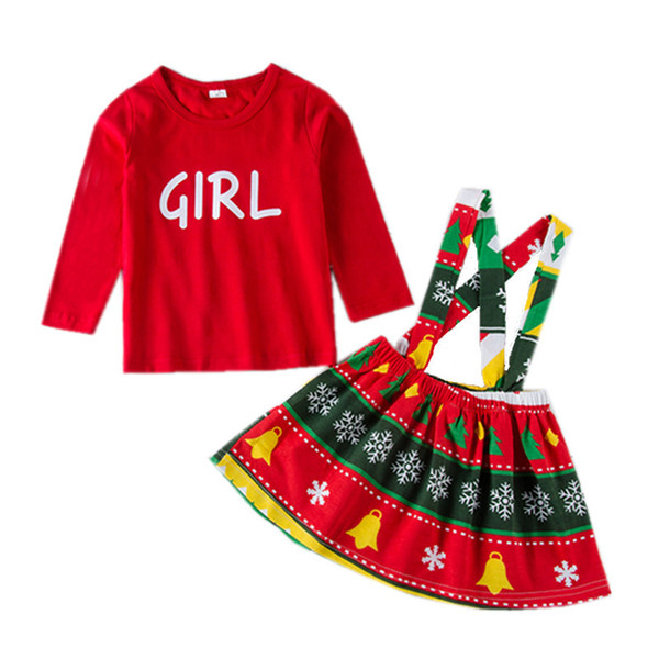539746fa0dc80 Christams baby girls letter Tops+suspender skirts 2pcs/sets dresses outfits  children Xmas geometric