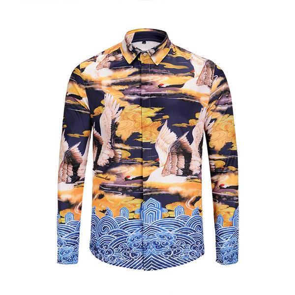 Осень новая мода мужская рубашка из высококачественного хлопка повседневная мужская отворот с длинными рукавами рубашки удобный красивый мужчина 5888894 #