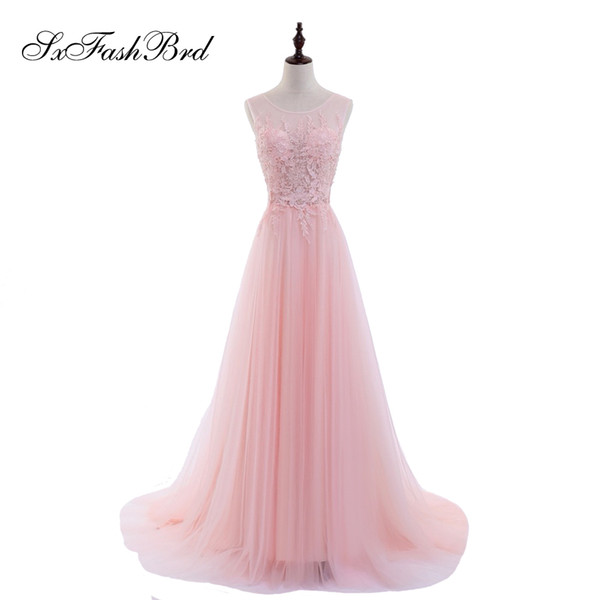 Girls Dress Elegant Sexy O Neck With Appliques Open Back A Line Tulle Pink Long Party Formal Evening Dresses Gowns for Women Prom