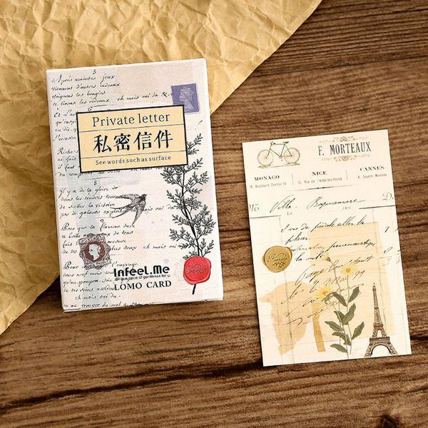 28 pcs box vintage letter student mini lomo card greeting card postcard birthday letter envelope gift set message card02