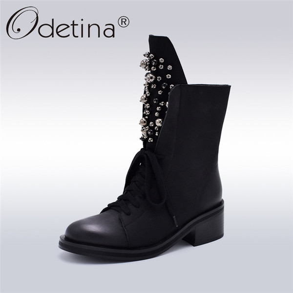 Odetina Fashion Brand Winter Mid Calf Boots Women Round Toe Square High Heel Russia Snow Boots Lace Up String Bead Warm Shoes