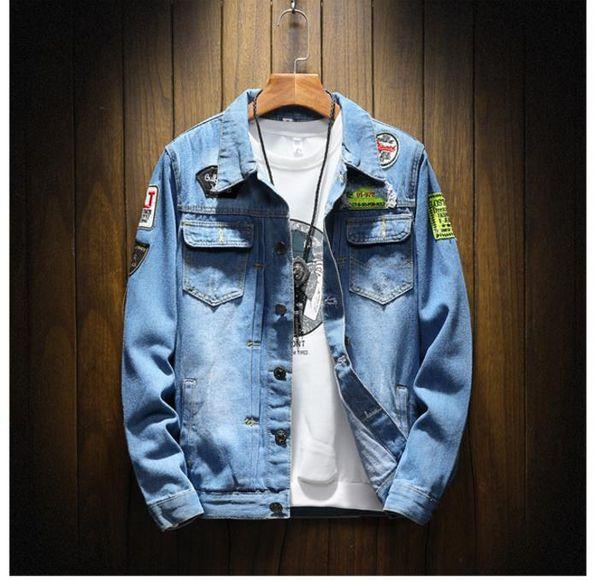 Ropa para hombre Chaqueta de mezclilla vintage Agujeros azules Insignias Patch Jeans Plus Talla 4XL 5XL Chaqueta barata en línea