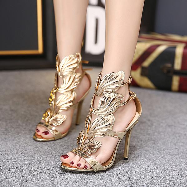 Neue Sommer Frauen High Heels Gold Winged Blätter Ausschnitte Stiletto Gladiator Sandalen Flamme Party High Heel Sandalette Schuhe Frau