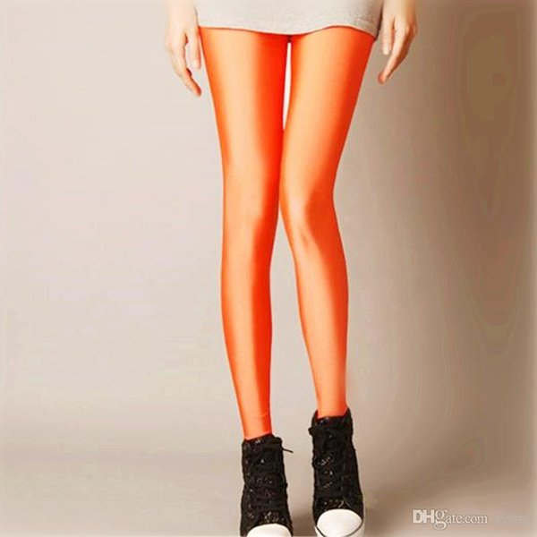 Wholesale- Sexy Solid Candy Neon Plus Size Women's Leggings High Stretched Deportes Jeggings Aptitud Clothing Ballet Dancing Pant K036