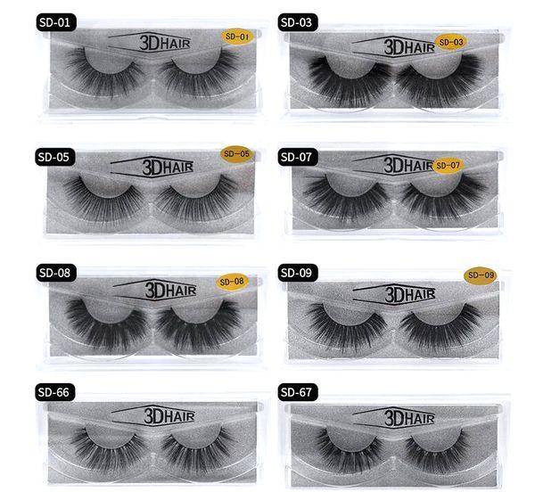 Hot 11 styles Selling 1pair/lot 100% Real Siberian 3D Mink Full Strip False Eyelash Long Individual Eyelashes Mink Lashes Extension