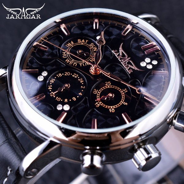 x Jaragar Obscure Swirl Fashion 3 Dial Design Diamond Black Golden Dial Genuine Leather Men Watch Top Brand Luxury Automatic Watch