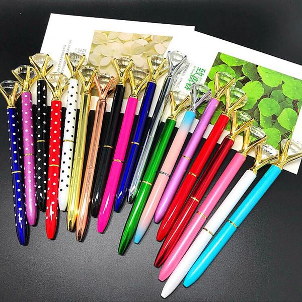 HOT Caneta Esferográfica Big Gem Metal 19 cores Bonito Caneta Esferográfica Com Grande Diamante Magical Pen presente Moda Escola Material de Escritório (Anita Liao)
