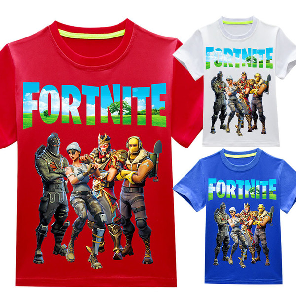 Baby boys girls Fortnite print T-shirts 2018 summer shirt Tops cotton children Tees kids Clothing 36 colors DHL C4505