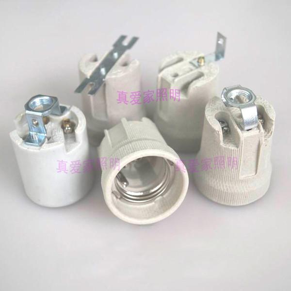 Durable High Temperature E27 Ceramic Lamp Base E27 Screw Mouth Aging Lamp Holder Horn-Type LED Light Socket for DIY Desk Lamp