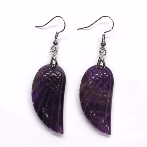 Kraft-beads Silver Plated Purple Amethysts Lapis Lazuli Flying Angel Wing Stone Earrings Red Agates Jewelry