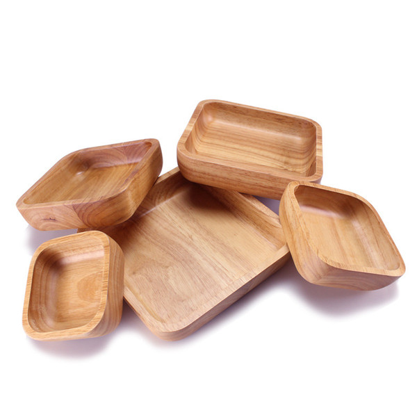 Brown Square Natural Wooden Bowl Durable Thicken Salad Bowls Fruit Meal Bread Salad Tableware For Home Kitchen 38xy CB